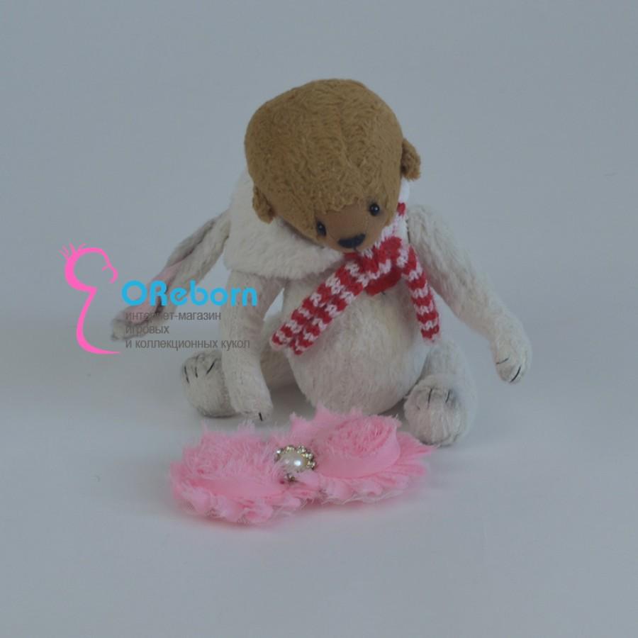 Повязка-ободок розовая роза для куклы реборн