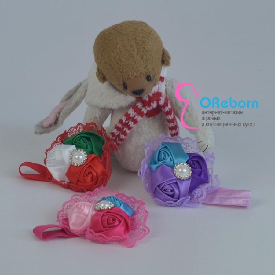 Повязка-ободок три розы для куклы реборн
