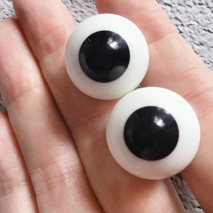 Глаза для реборн и кукол BJD стекло черный 18 мм