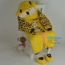 Зимний комбинезон для куклы реборн Жирафик