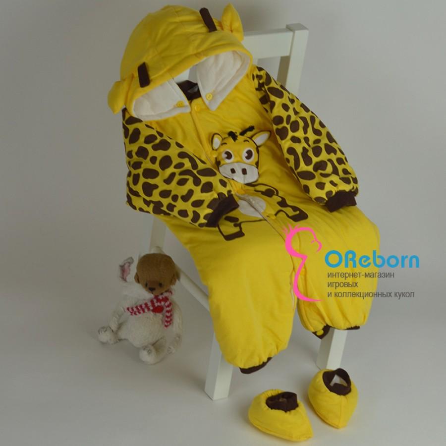 Зимний утеплённый комбинезон для куклы реборн Жирафик