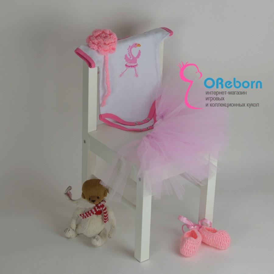 Вязаный комплект с юбкой пачка и боди для девочки и куклы реборн