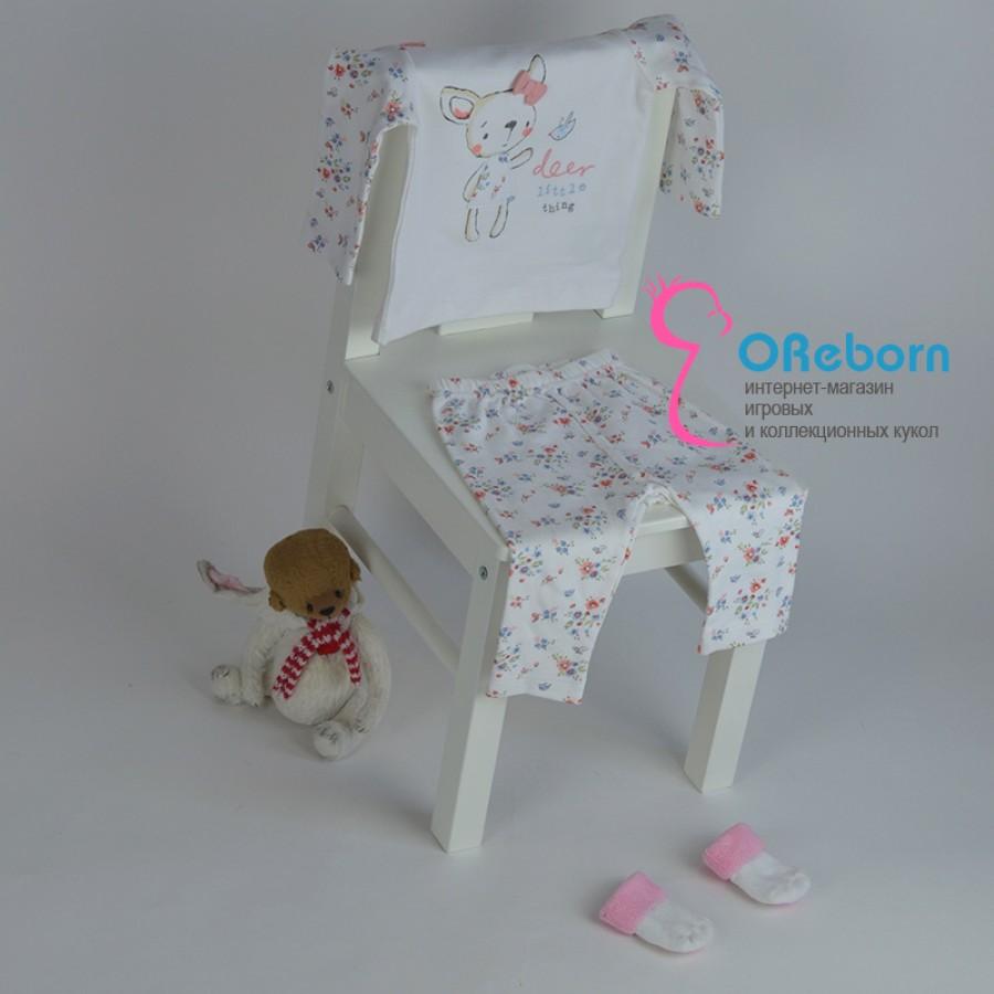 Пижама для девочки и куклы реборн с Оленёнком