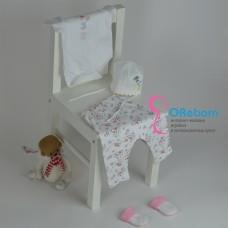Белый боди и брюки на резинке для новорожденного