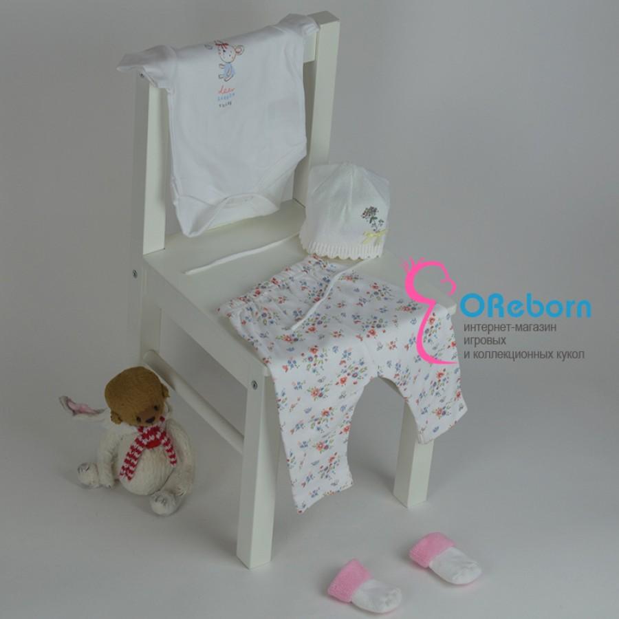Белый боди и брюки на резинке для новорожденного и куклы реборн