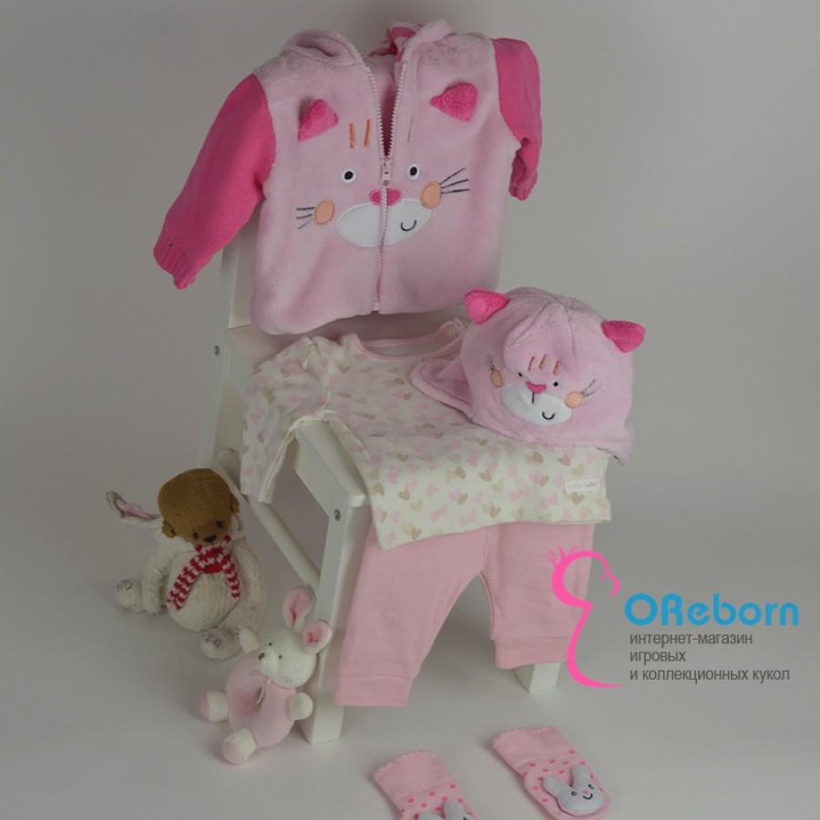 Утепленная куртка для девочки и куклы реборн 5 предметовкомплект
