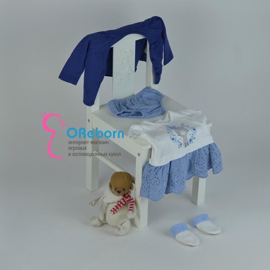 Платье для девочки и куклы реборн с вязаным кардиганом