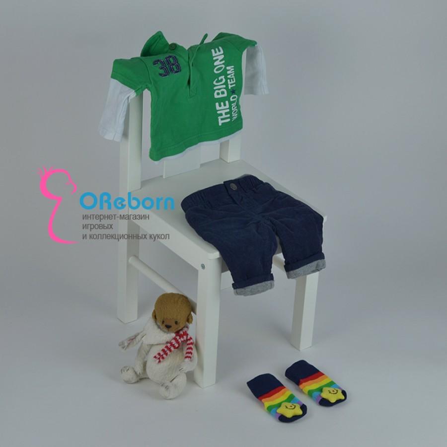 Футболка-поло для мальчика и куклы  реборн с брюками