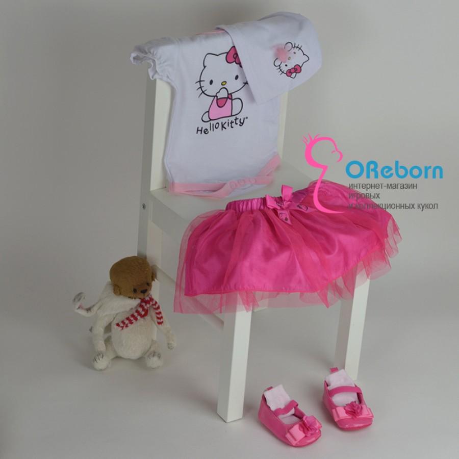 Боди с юбкой, шапочка, туфельки для девочки и куклы реборн hello kitty комплект