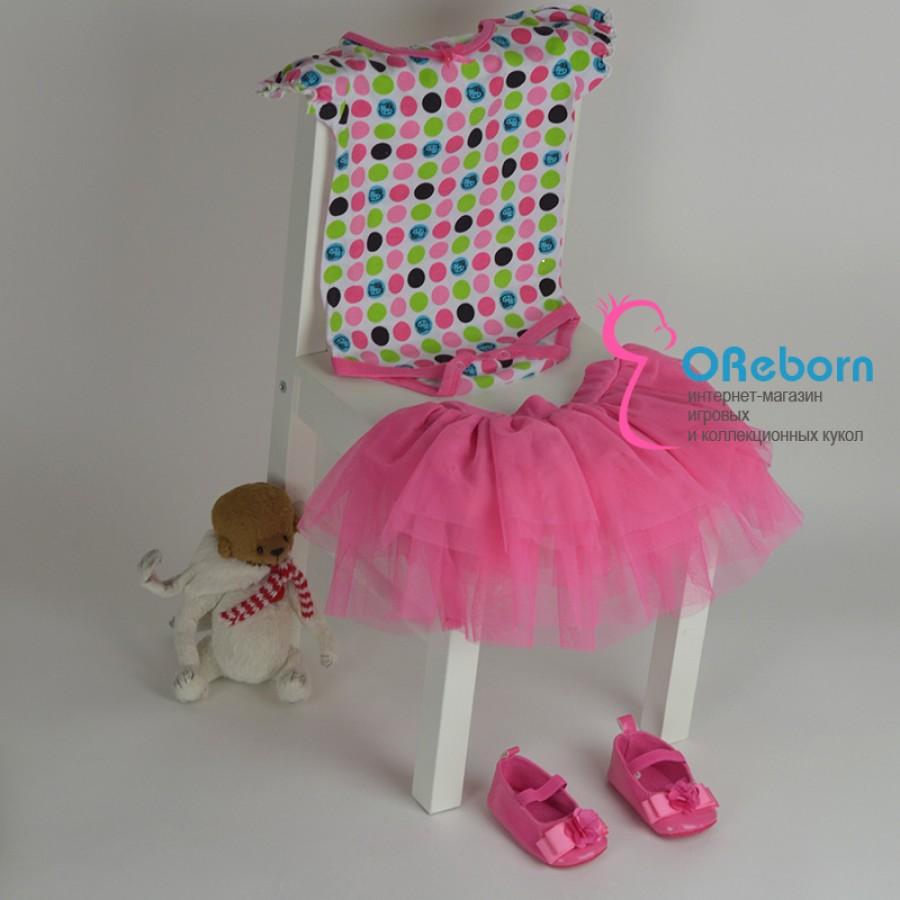 Юбка tutu c боди, туфельки для девочки и куклы реборн hello kitty