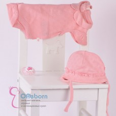 Боди вязаный с воротником и шапочкой для новорожденного