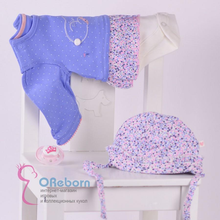 Комплект одежды для новорожденного  2 предмета - боди платье с шапочкой