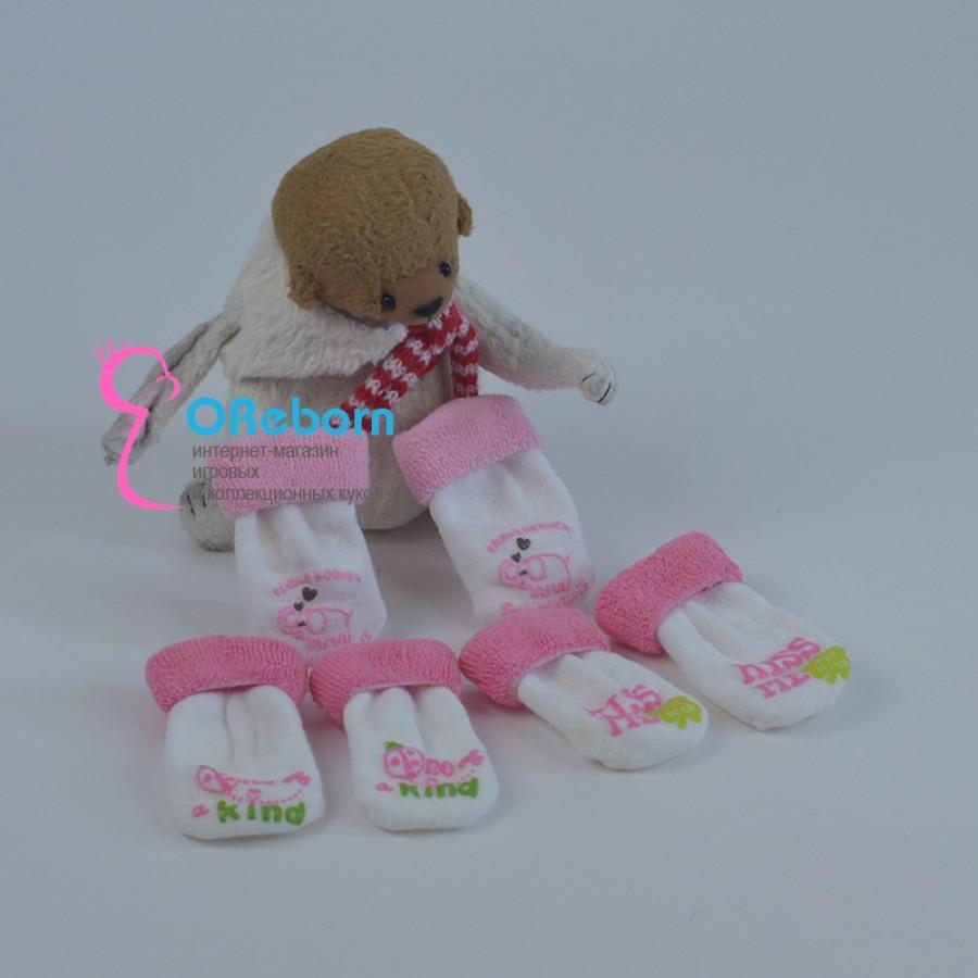 Махровые розовые носки для куклы реборн девочки