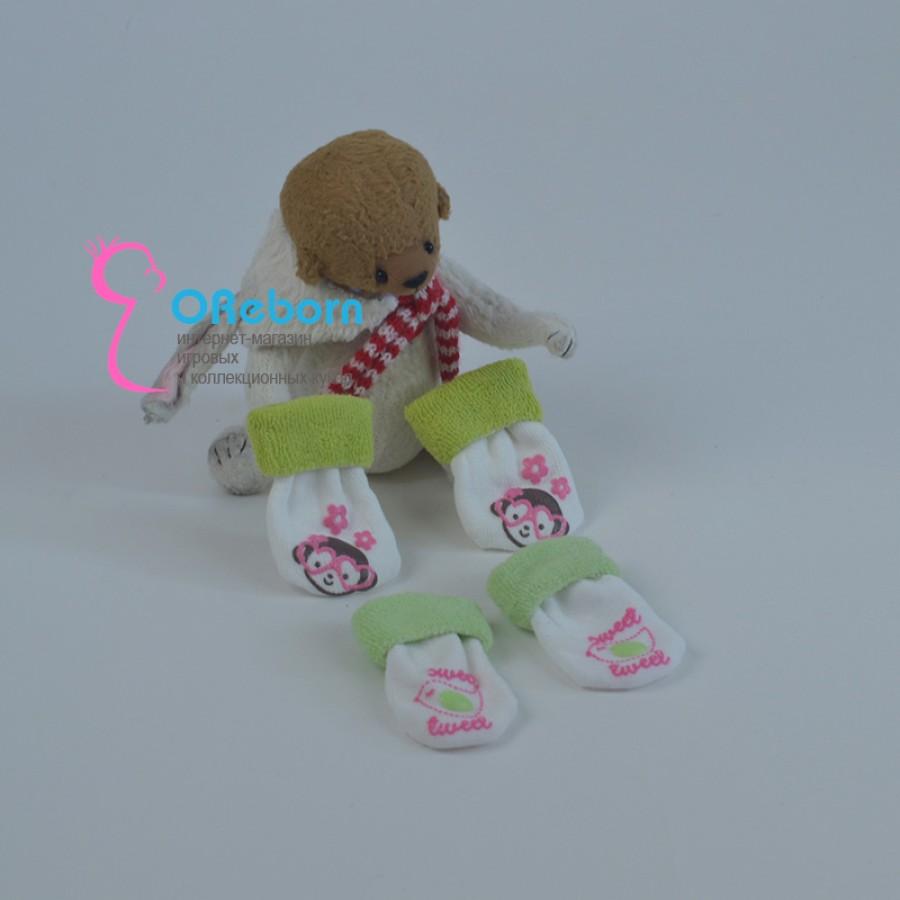 Махровые зелёные носочки для куклы реборн девочки