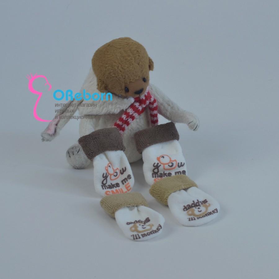 Махровые коричневые носочки для куклы реборн, новорождённого