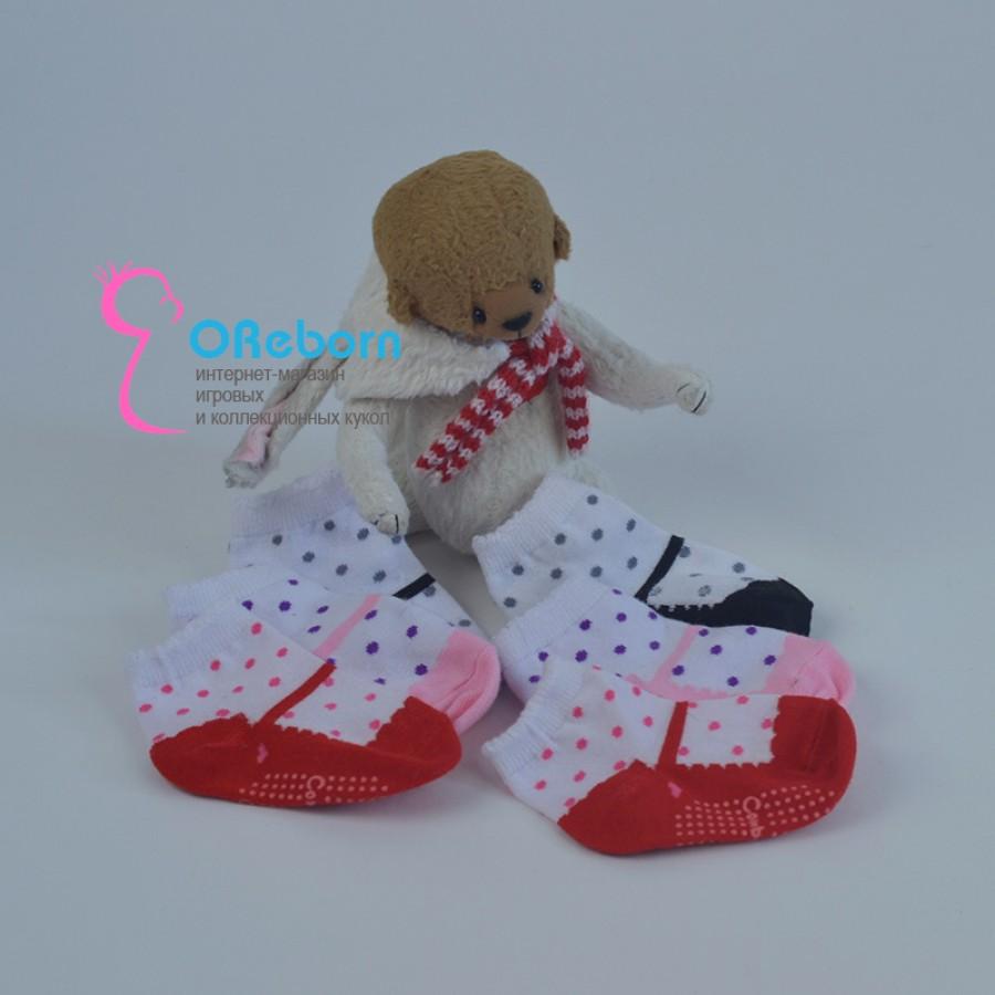 Носочки туфельки в горошек для куклы реборн девочки