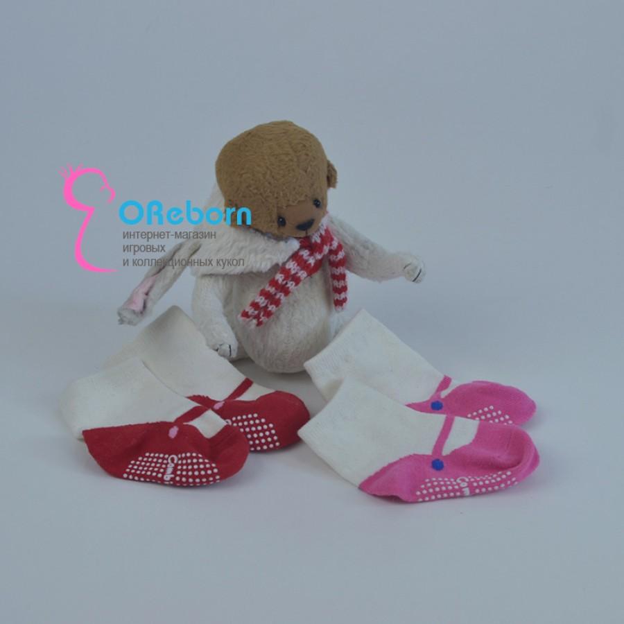 Хлопковые носочки туфельки для куклы реборн девочки