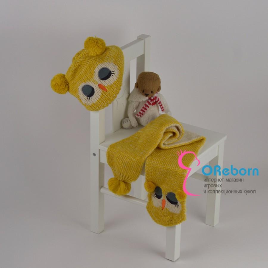 Вязаный комплект шапочка с шарфом  Совёнок для малыша и куклы реборн