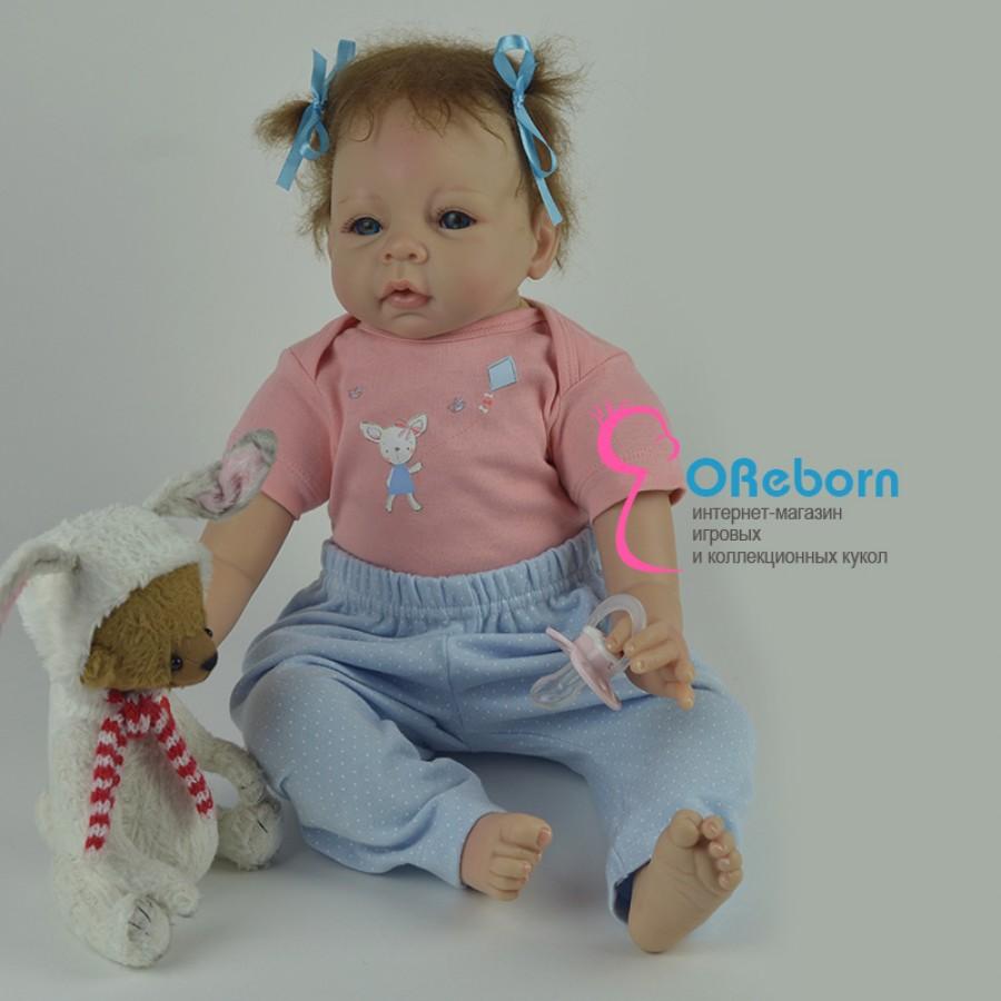 Реборн девочка с бантиками и  голубыми глазами