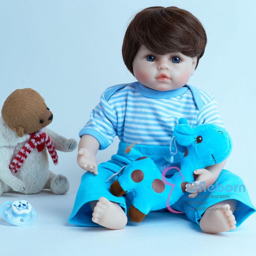 Реборн кукла мальчик с голубыми глазами (арт.016-8)