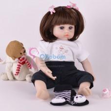 Реборн кукла с  длинными волосами  прическа каре (арт.016-3)
