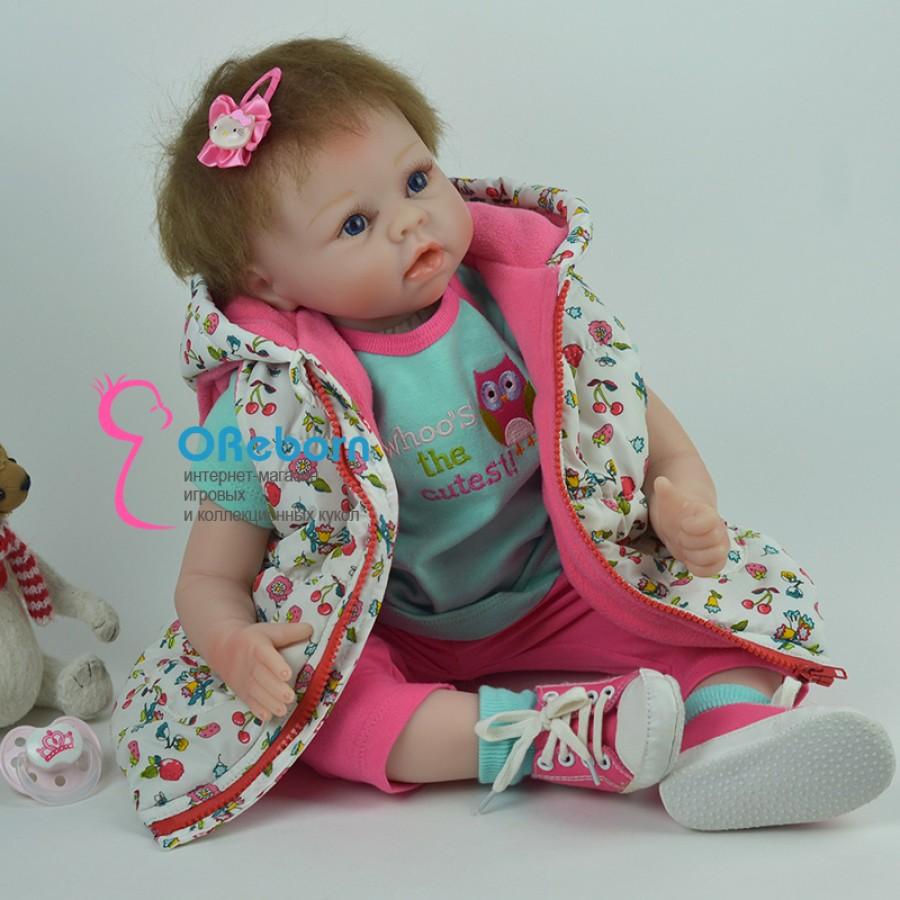 Кукла реборн с темными волосами девочка с мягконабивным телом