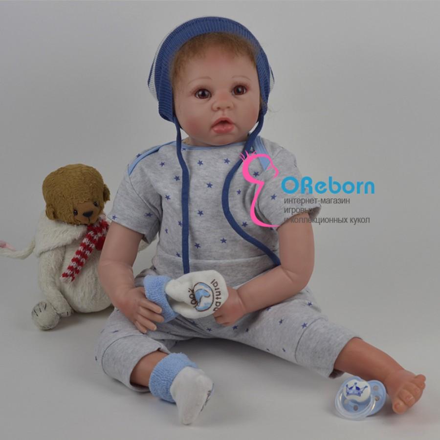 Кукла реборн мальчик с карими глазами и хлопковым телом