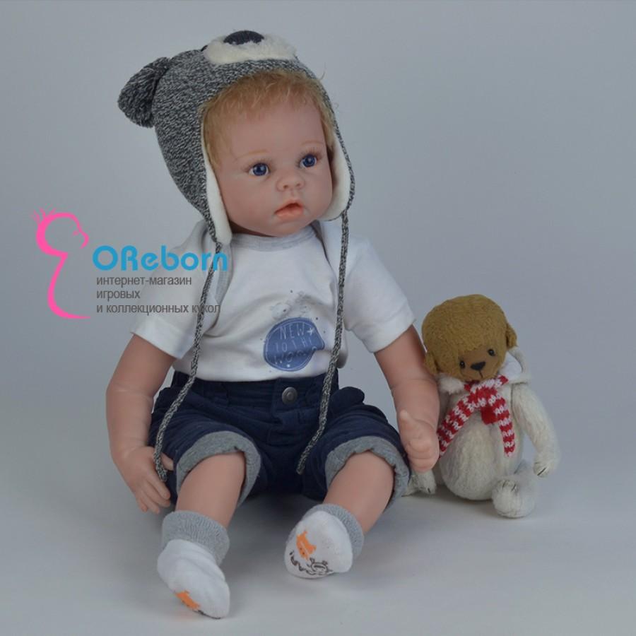 Кукла реборн мальчик блондин с голубыми глазами