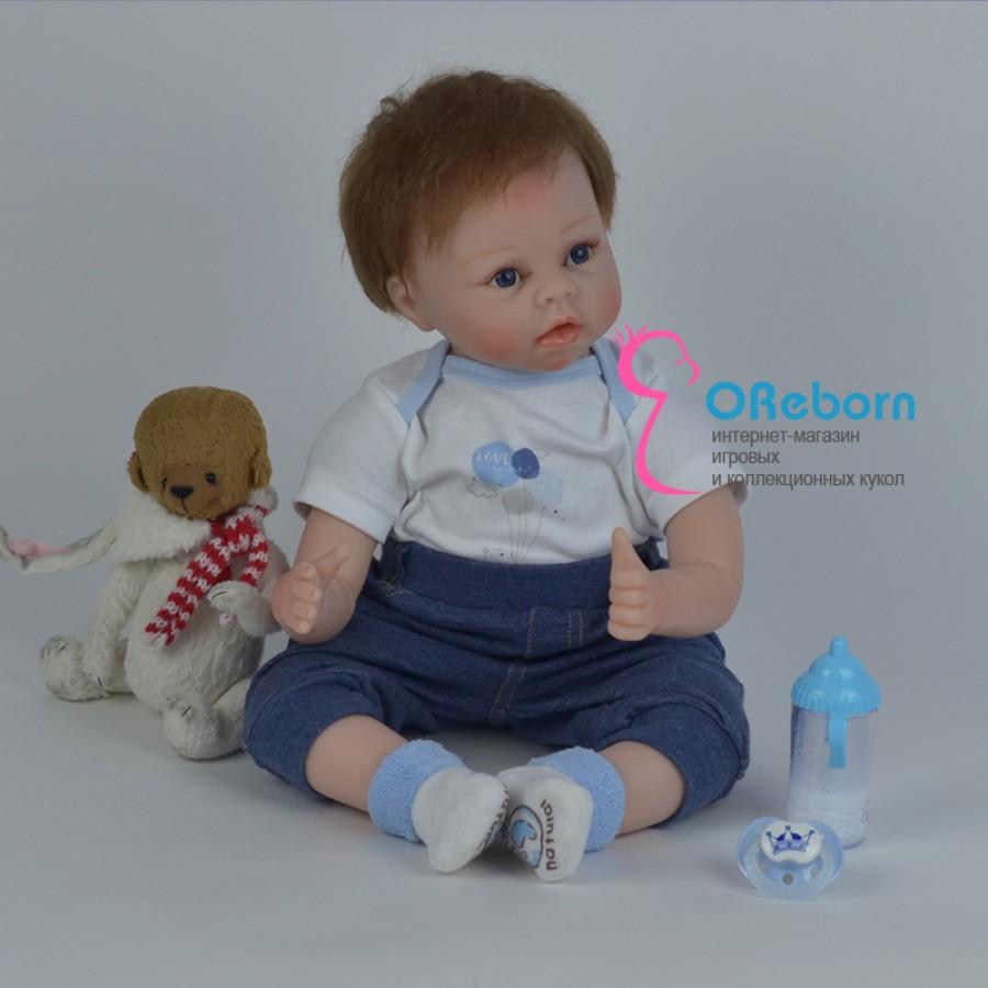 Кукла реборн мальчик шатен с голубыми глазами
