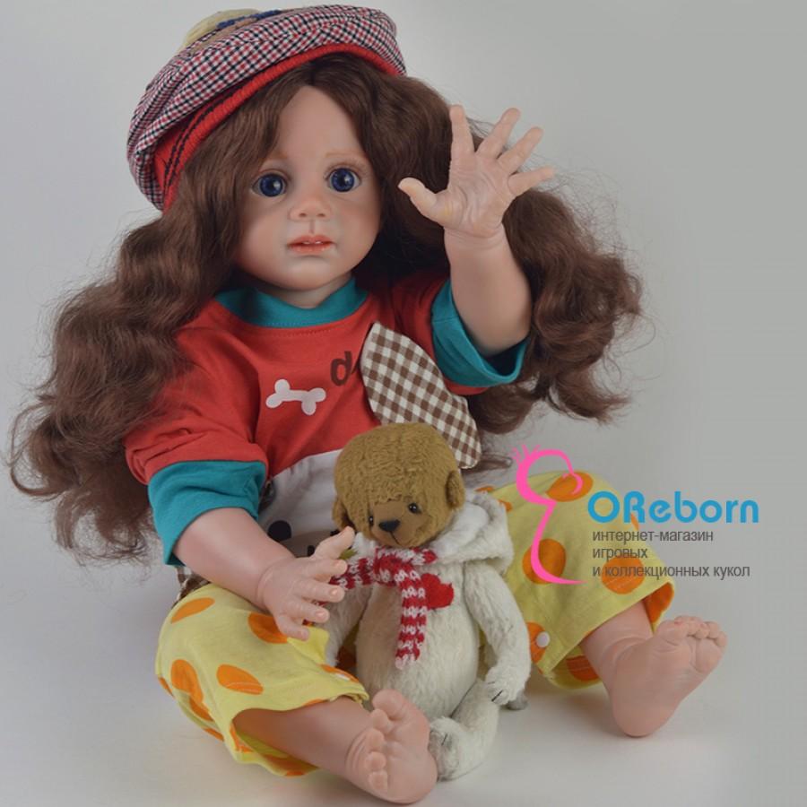 Шотландка. Кукла реборн девочка с длинными волосами