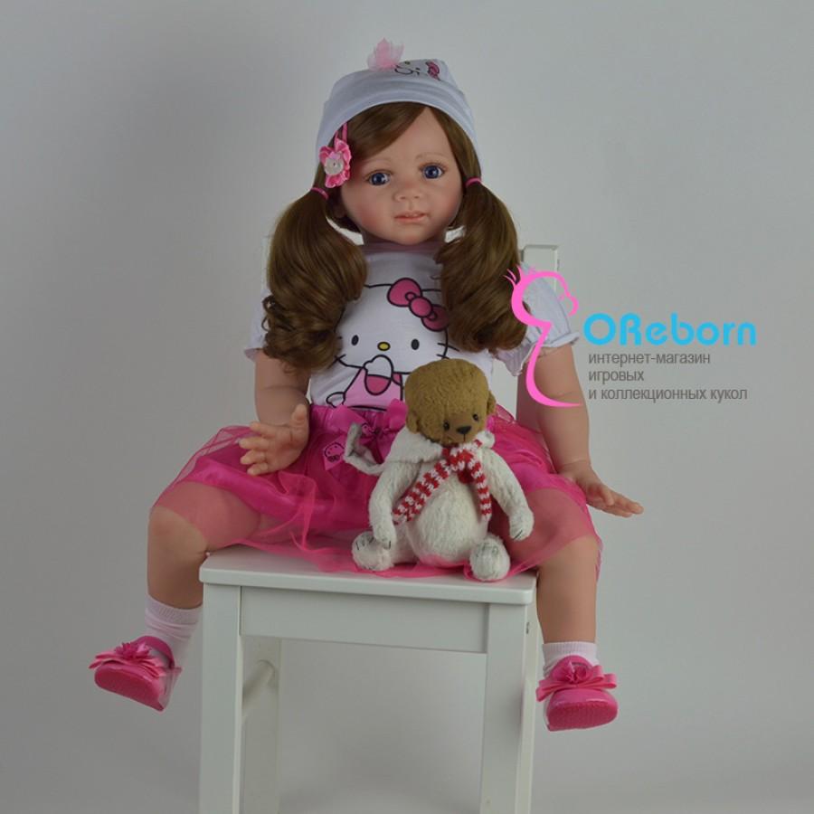 Hello Kitty. Кукла реборн девочка с длинными волосами