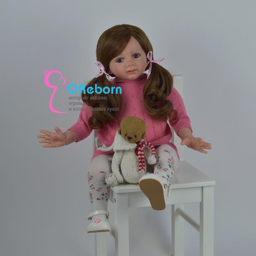 Мамина дочка. Кукла реборн девочка с длинными волосами