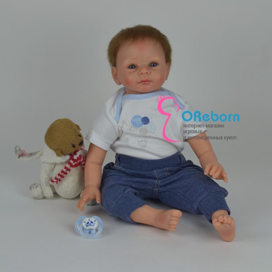 Реборн мальчик с мягконабивным телом и бирюзовыми глазами