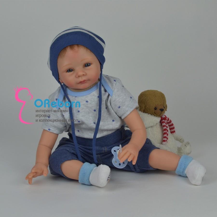 Кукла реборн  мальчик с бирюзовыми глазами и мягким телом