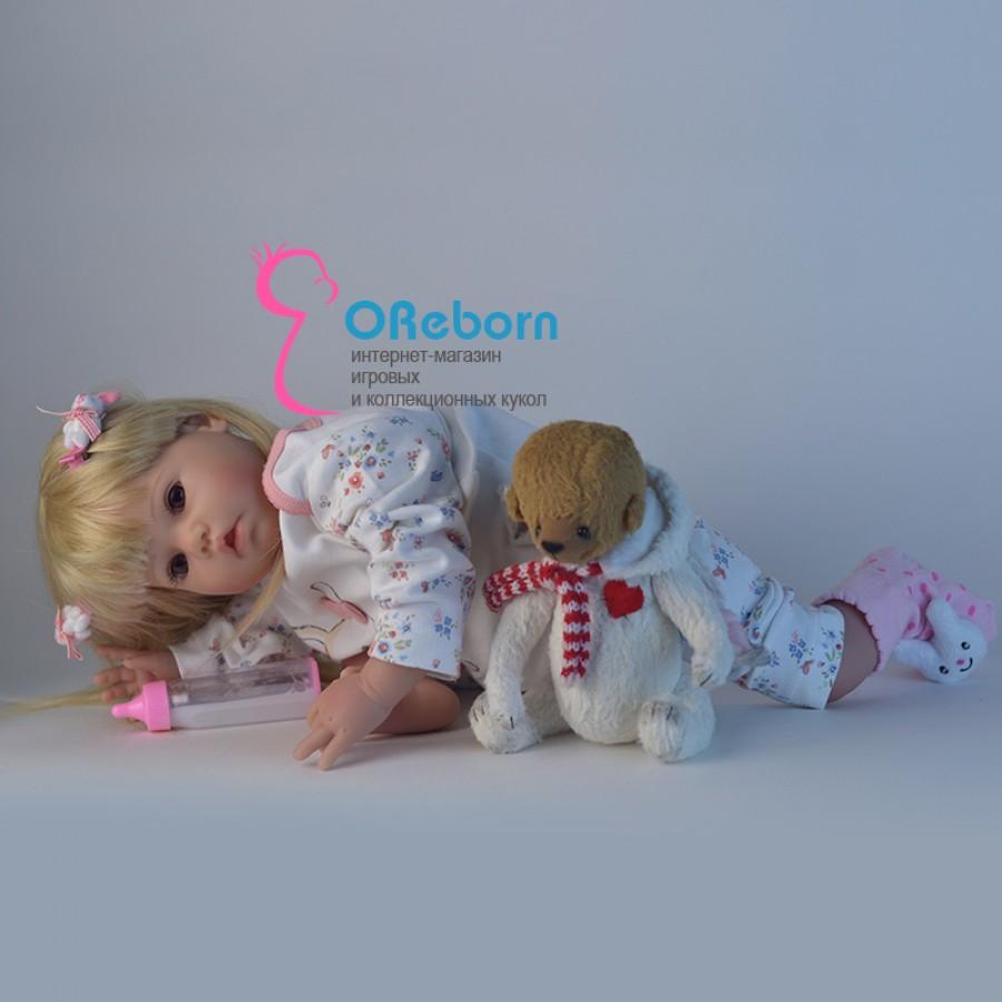 Кукла реборн с длинными белыми волосами девочка