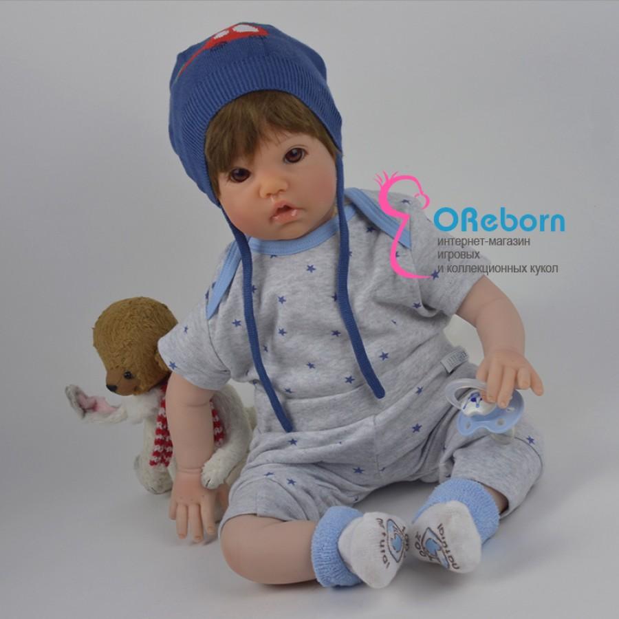Кукла реборн мальчик с карими глазами и стрижкой