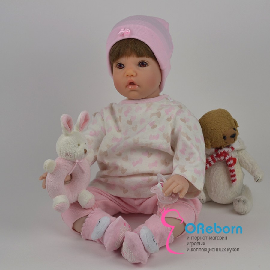 Кукла реборн девочка в шапочке с мягким телом
