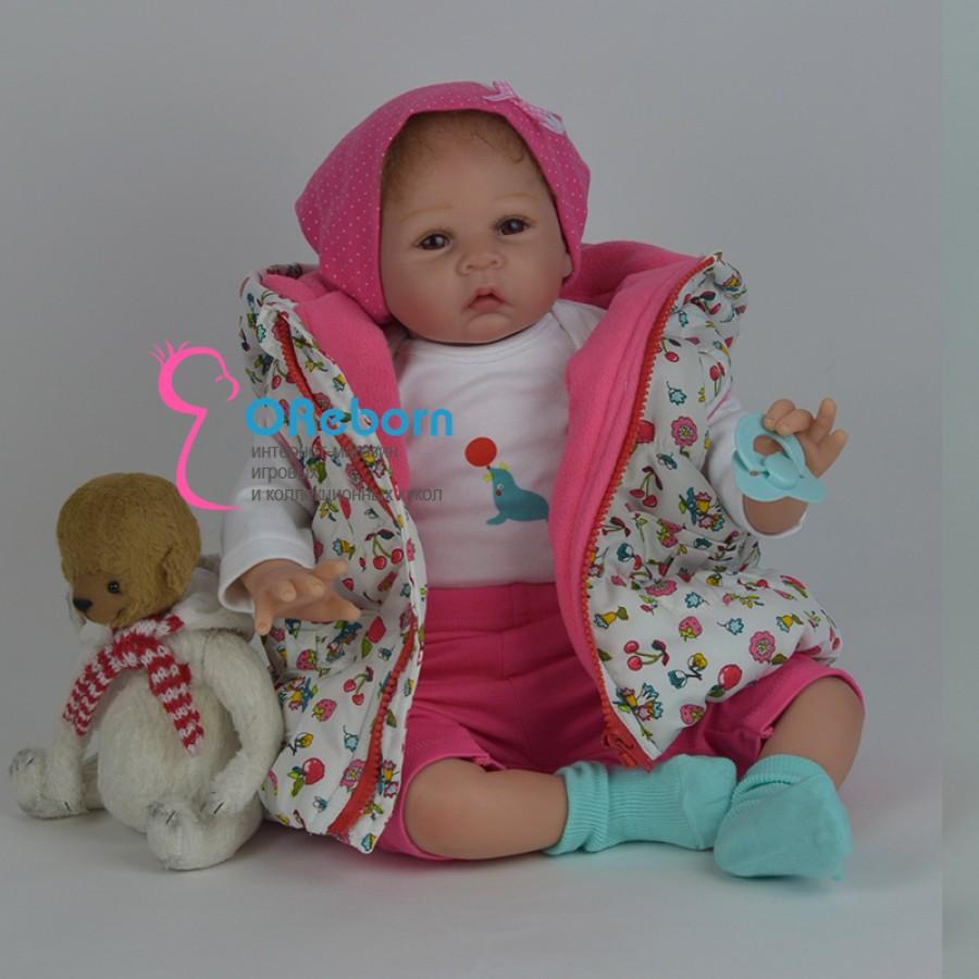 Кукла реборн девочка с карими глазами с смуглой кожей