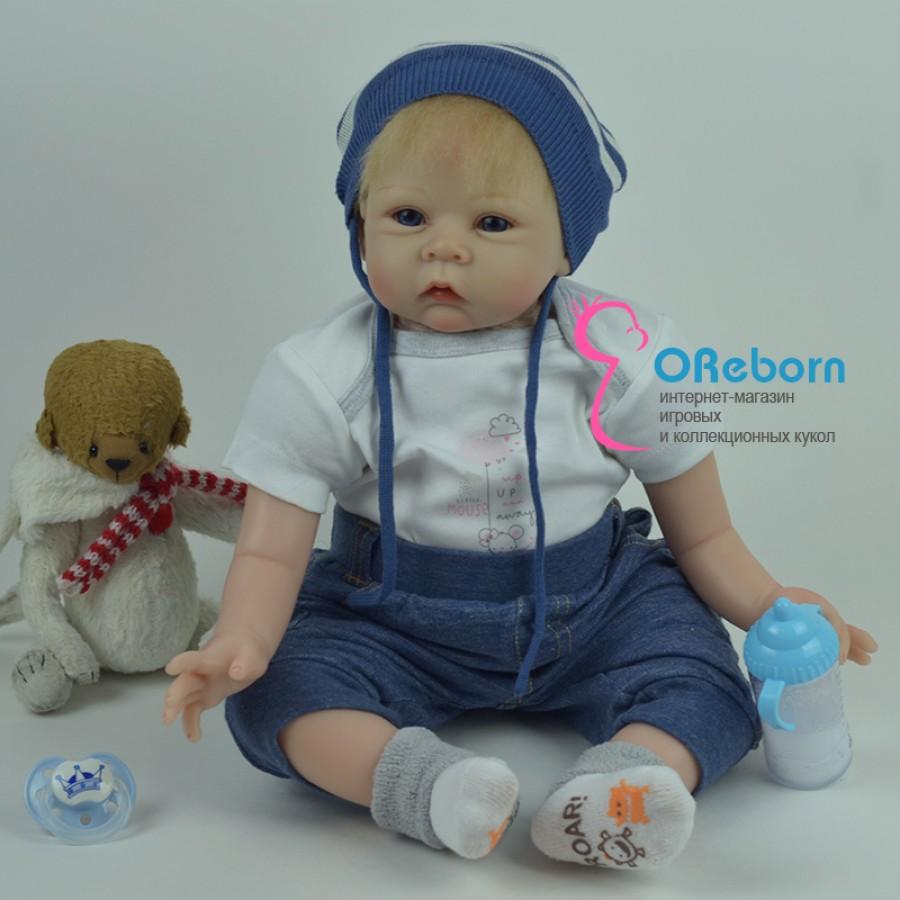 Кукла реборн мальчик с голубыми глазами и светлыми волосами