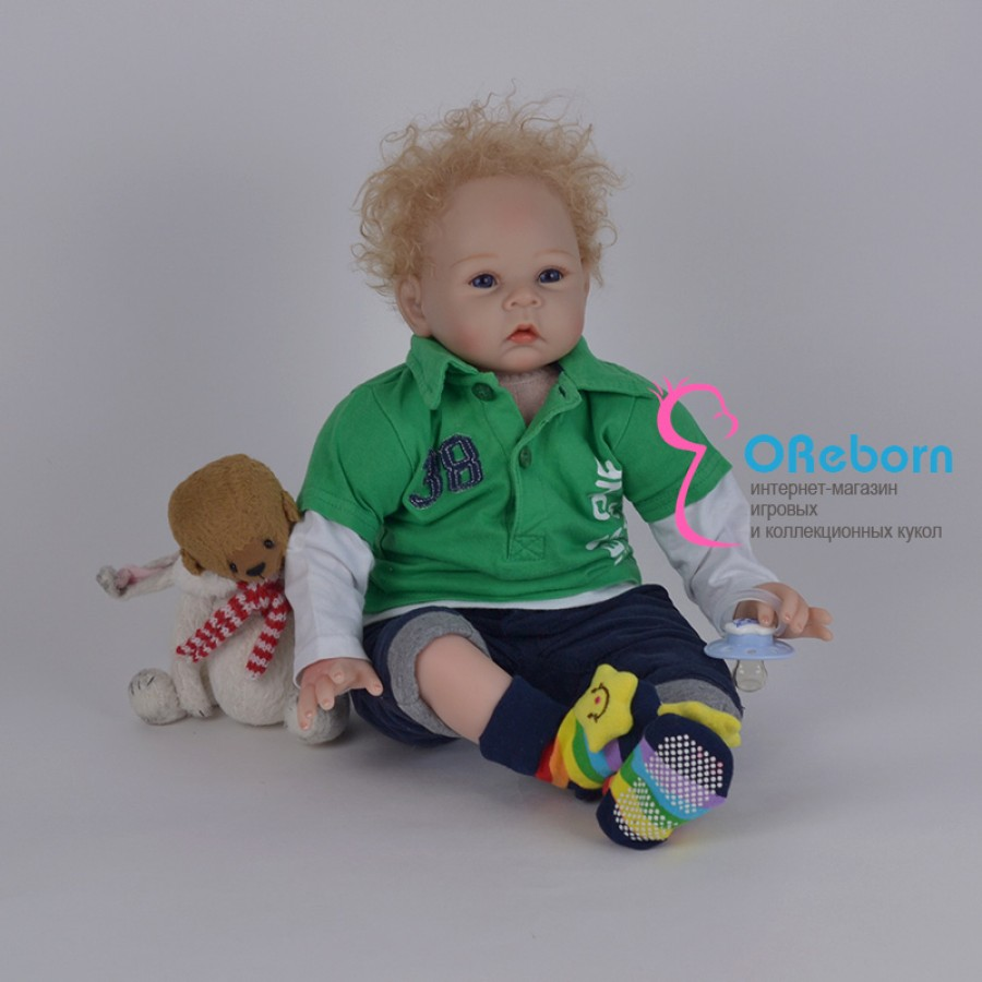 Кукла реборн мальчик с голубыми глазами блондин с кучерявым волосами