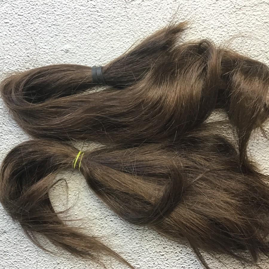 Натуральные волосы коричневый 56 см срез. Славянские натуральные волосы для кукол реборн