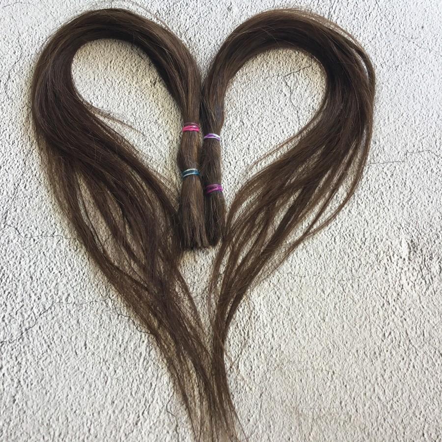 Натуральные волосы коричневый 53 см срез. Славянские натуральные волосы для кукол реборн